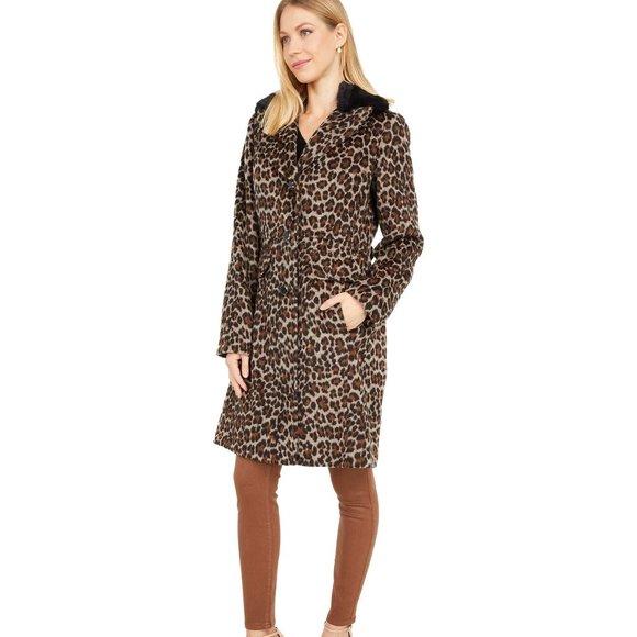 Kate Spade Leopard Print Faux Fur Collar Coat